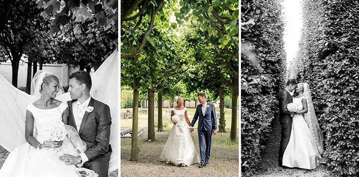 brudepar fotograferet i sophienberg slotshave