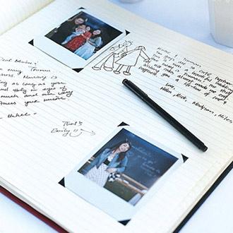 gæstebog med polaroid billeder