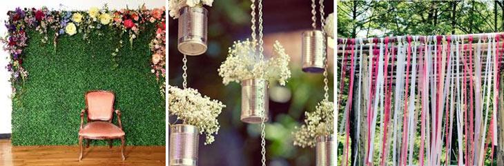 kunsgræs pyntet med blomster, dåser hængende med blomster, strimler af stof hængende