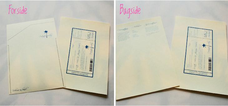 forside og bagside af invitationen