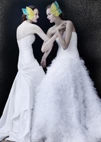 brudekjole svanelignende skørt