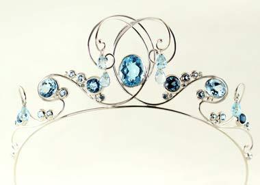 Diadem med blå ædelstene