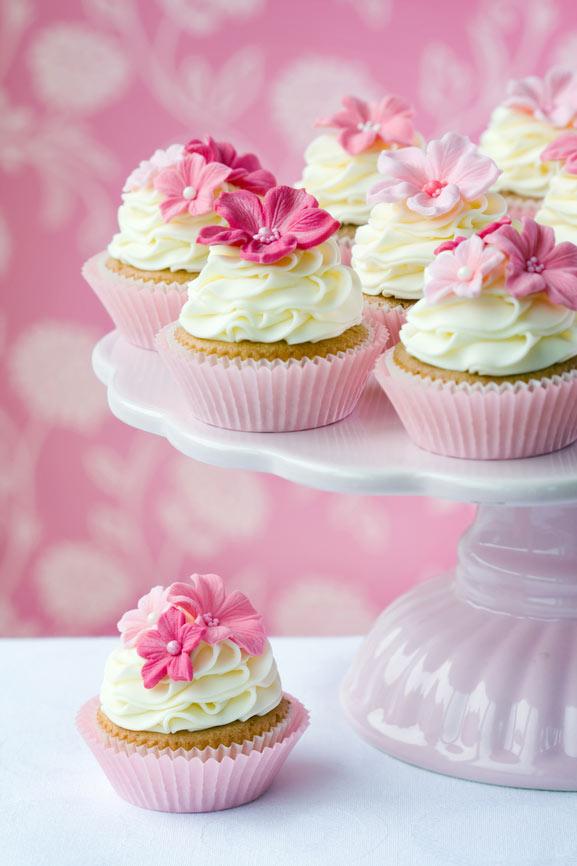 cupcake pink sukkerblomster