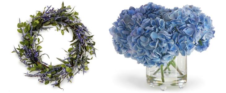 kunstige blomster krans og blå hortensia