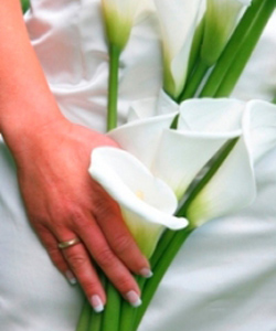 brudebuket med hvide callaer