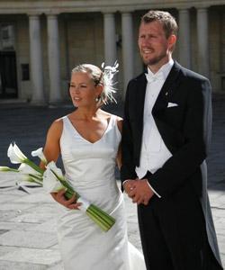 brude med hvide callaer