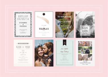 Collage af bryllupsinvitationer på lyserød baggrund