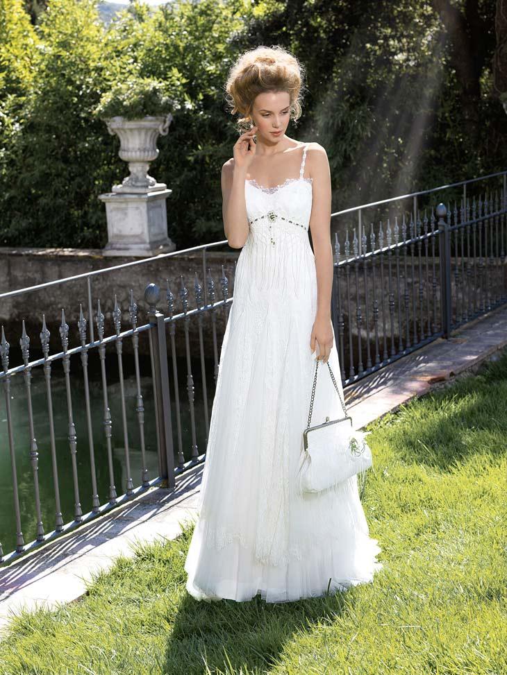 Vintage inspireret brudekjole med tynde stropper