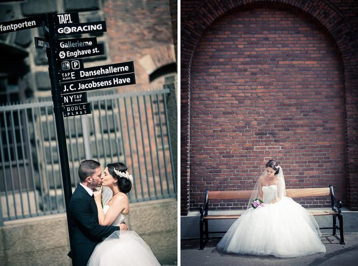 brudepar ved vejskilt og brud på bænk
