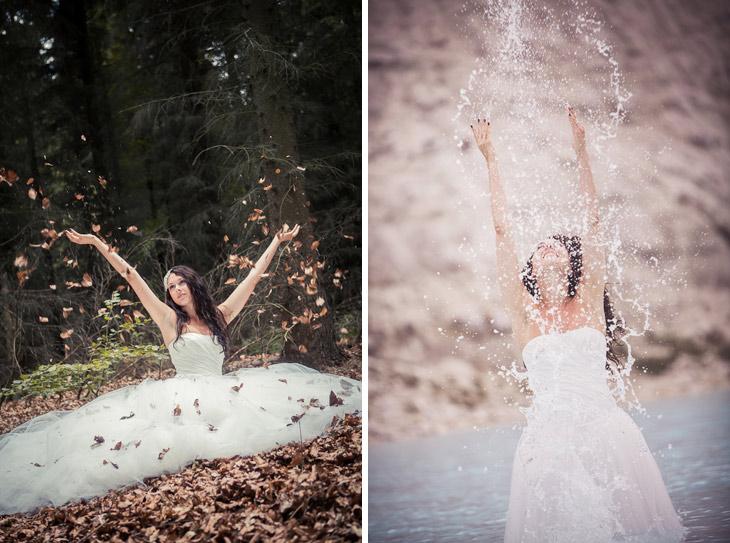 trash the dress i skov og ved vandet