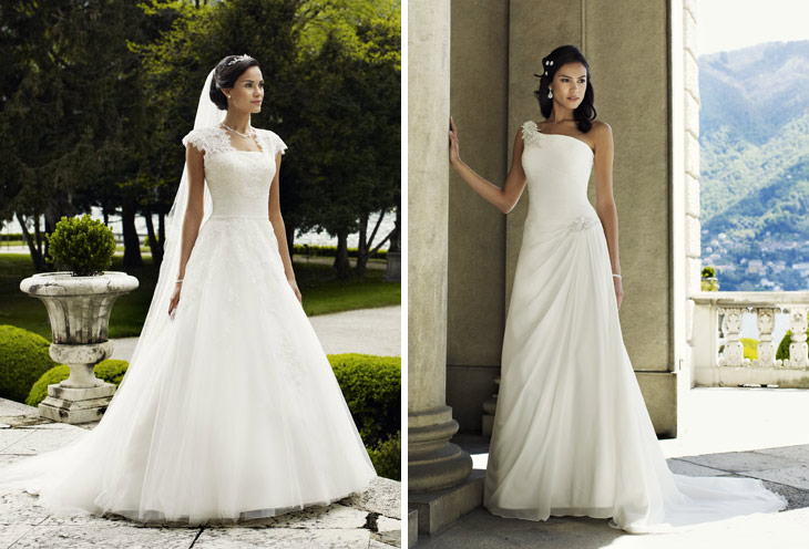 brudekjole asymetrisk strop og brudekjole med tyl og blonde