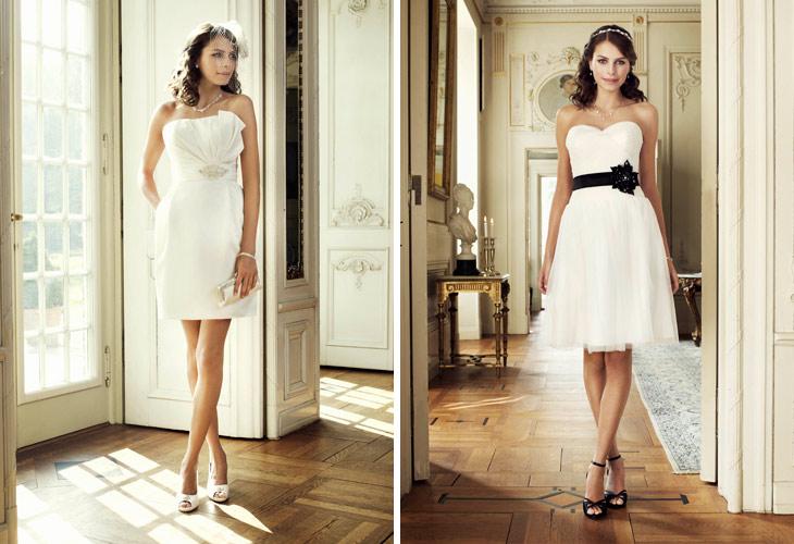 kort brudekjole med asymetrisk top og kort brudekjole med sort bælte