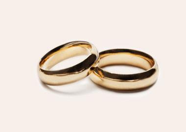 Blanke runde vielsesringe i guld