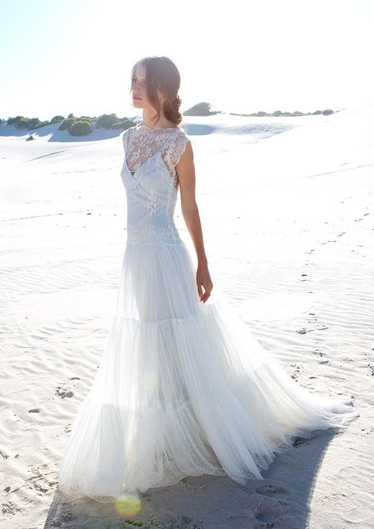Brudekjole i let materiale vintage stil