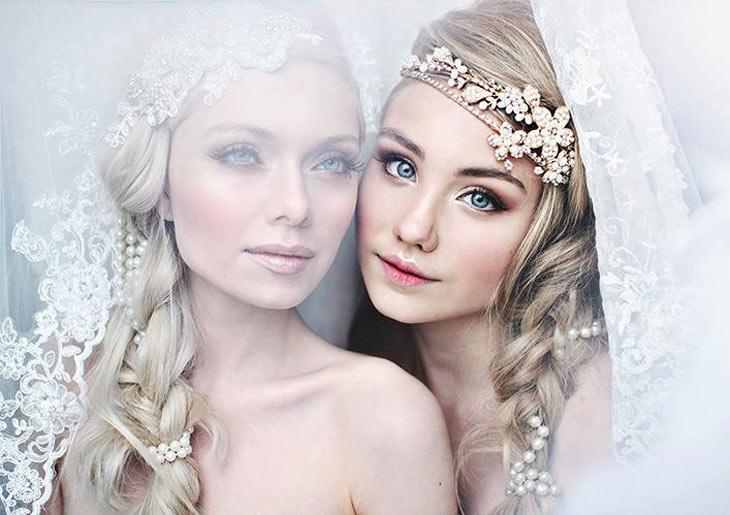 Headpieces med krystaller, perler og blomster