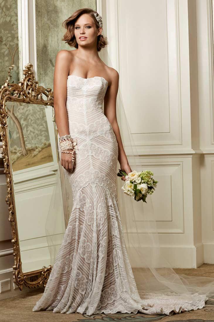 Vintage inspireret brudekjole med perler
