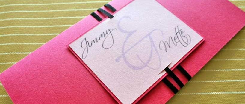 Pink bryllupsinvitation