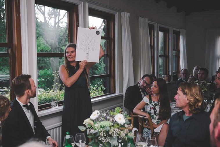 bryllupsgæst præsenterer overraskning