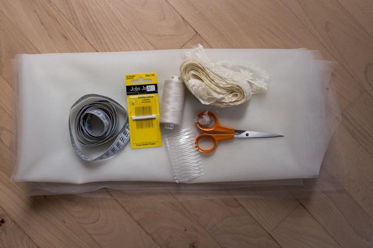 Materialer til at sy eget brudeslør