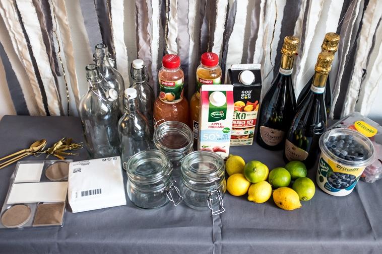 Juice, prosecco, bær, glasflasker, glaskrukker