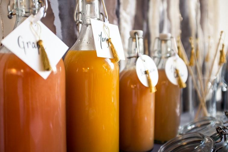 juice på glasflasker