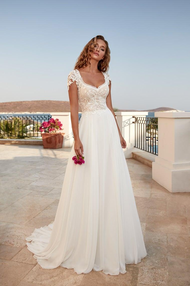 Romantisk boheme brudekjole med små cap sleeves