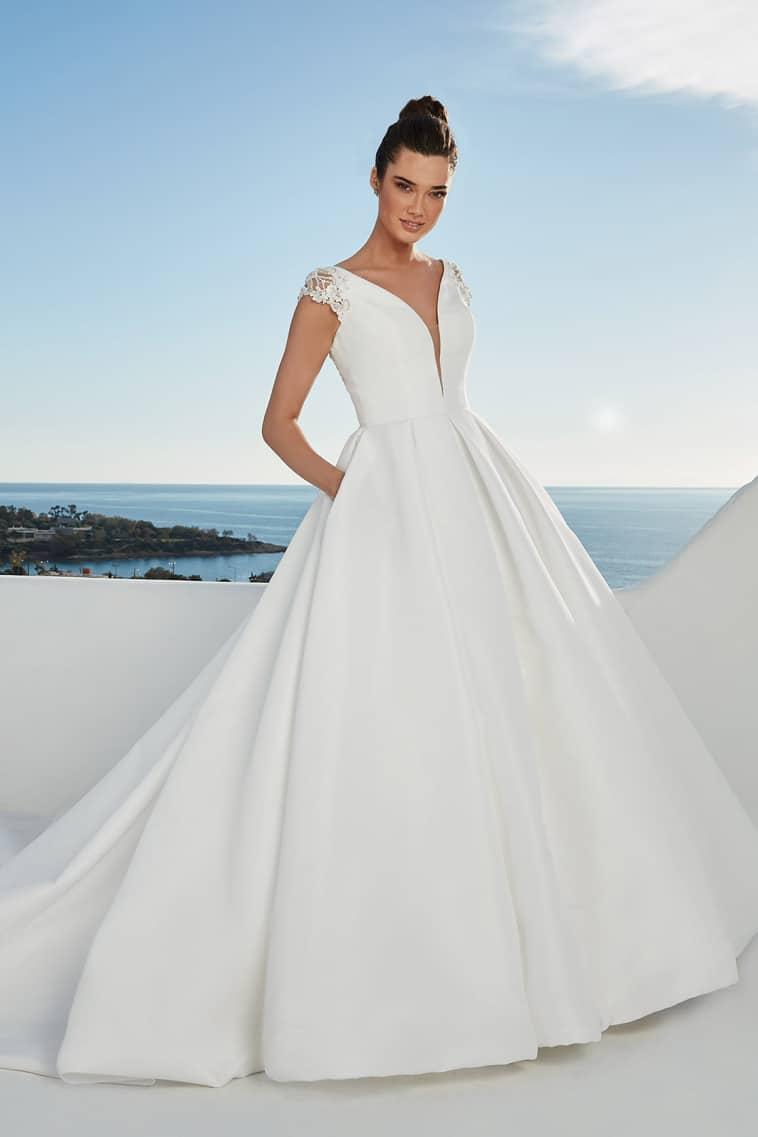 prinsesse brudekjole med lommer