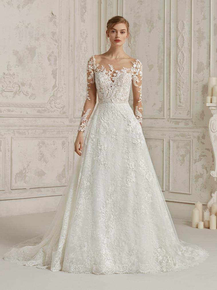 brudekjole lange transparente ærmer