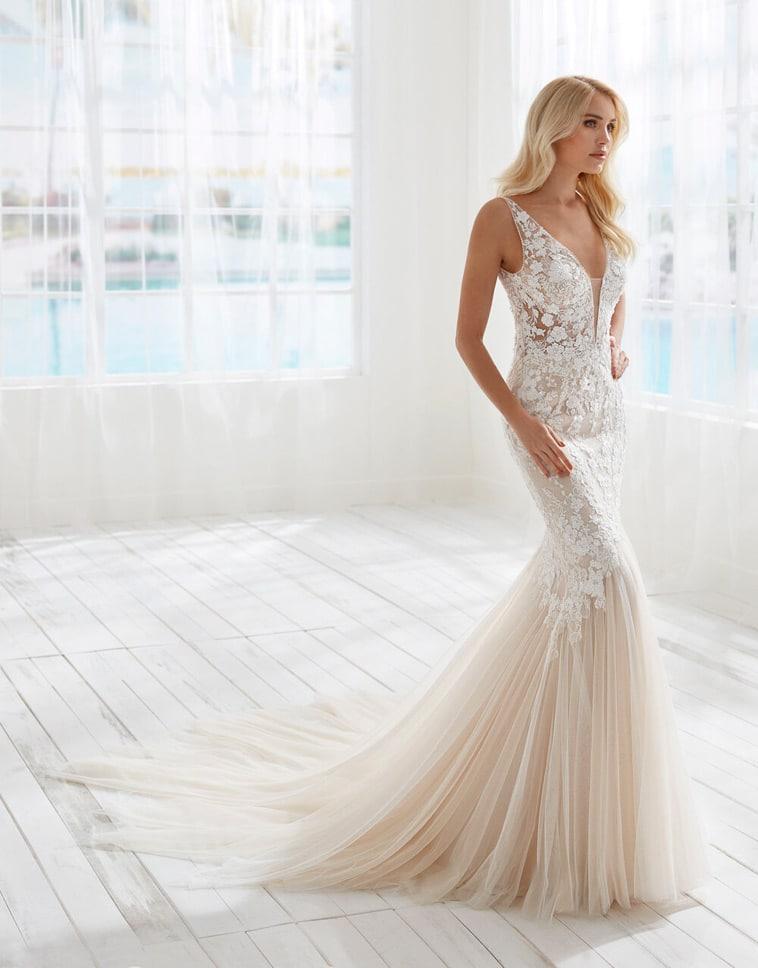 brudekjol ehavfrue facon med blonde