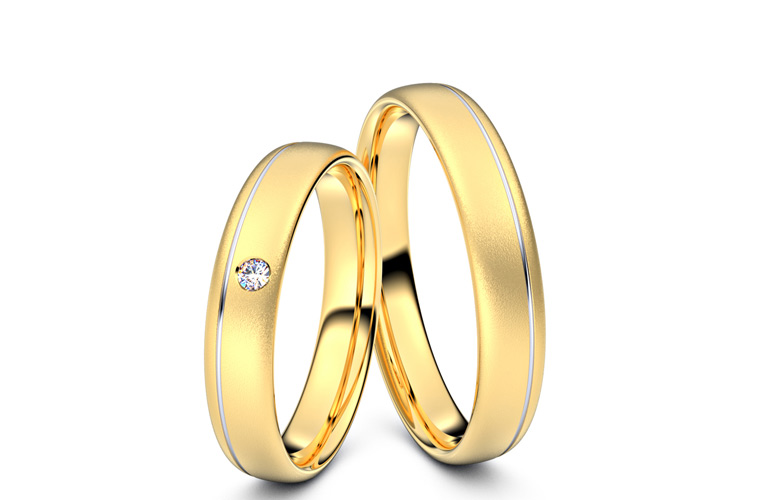 Vielsesringe 8 karat guld og hvidguld med brillant i dameringen