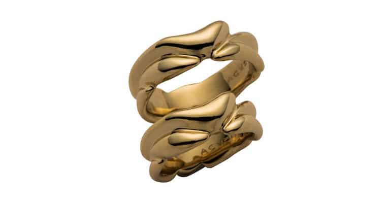 Vielsesringe i guld med bølgende effekt