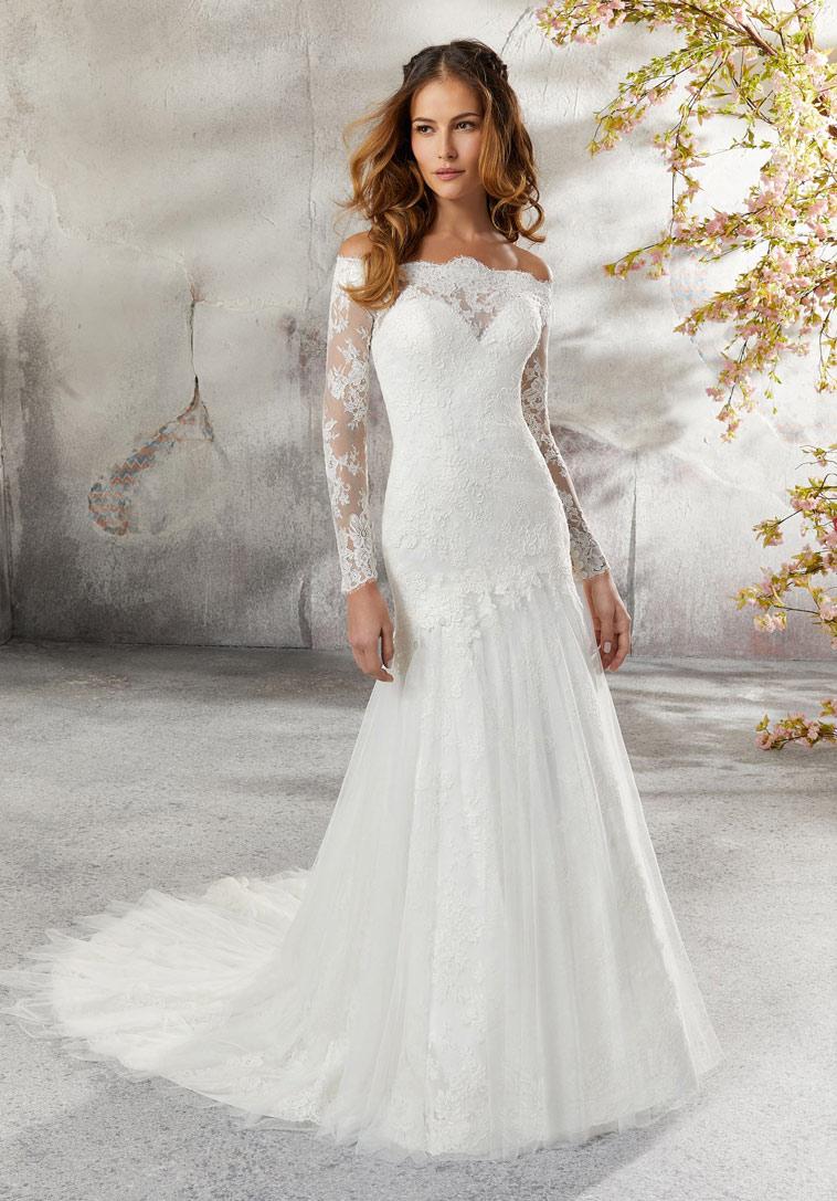 brudekjole med lange æmer