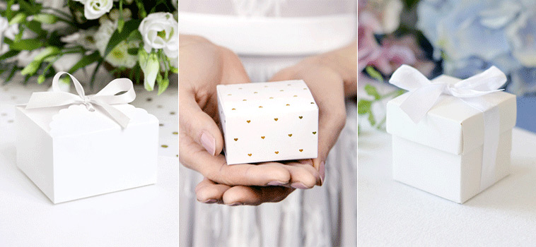 Små gaveæsker til bryllupsgæsterne