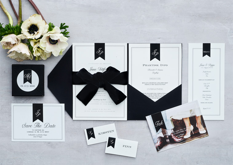 bryllupsdesign med sort sløjfe