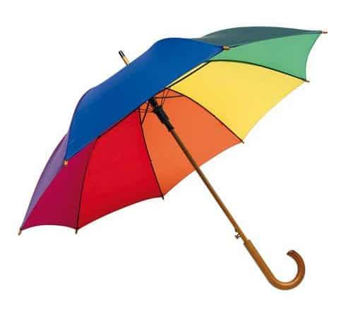 regnbuefarvet bryllupsparaply
