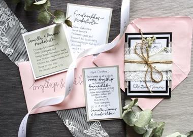 Håndskrevne bryllupsinvitationer