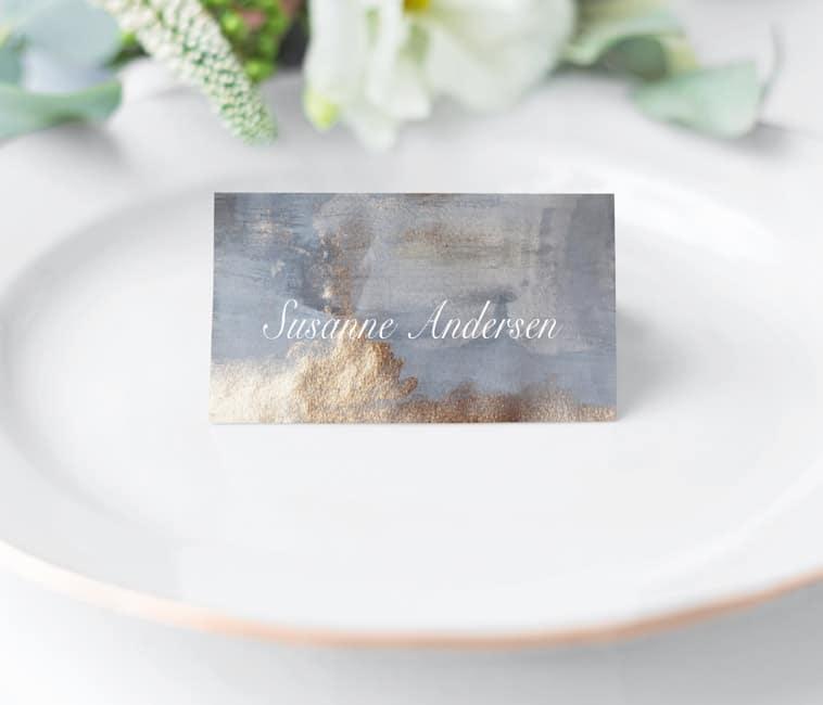 bordkort på tallerken