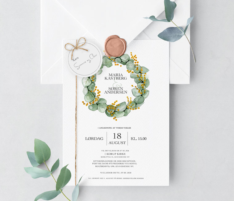 bryllupsinvitation grønne detaljer