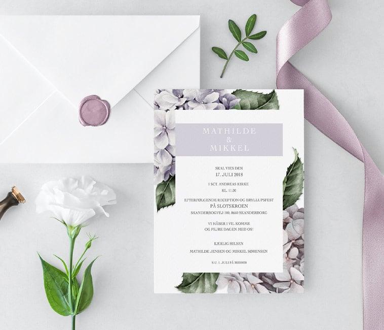 bryllupsinvitation lilla detaljer
