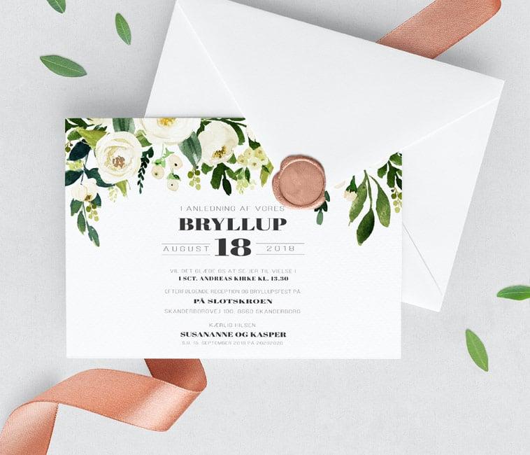 bryllupsinvitation blomster detaljer
