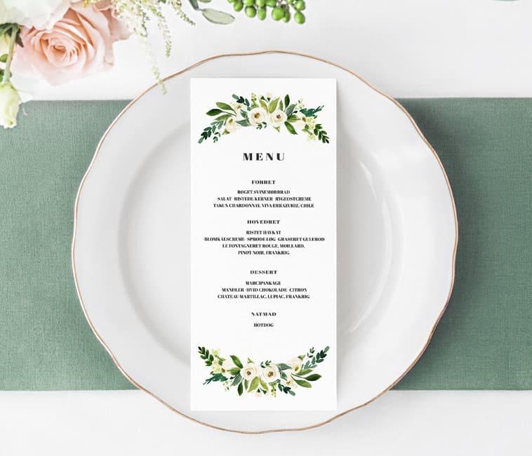 menukort med grønne detaljer