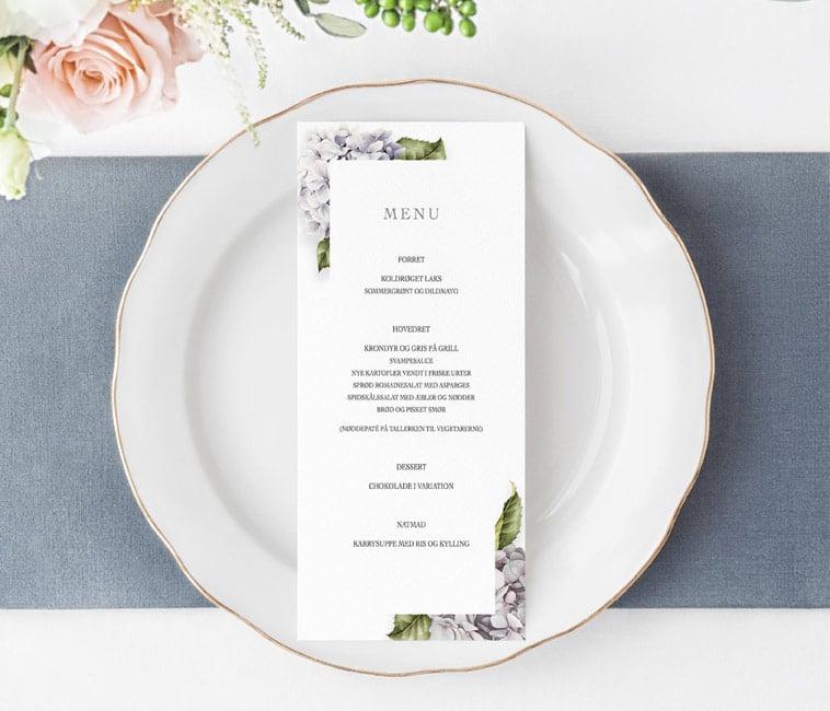 menukort med lilla detaljer