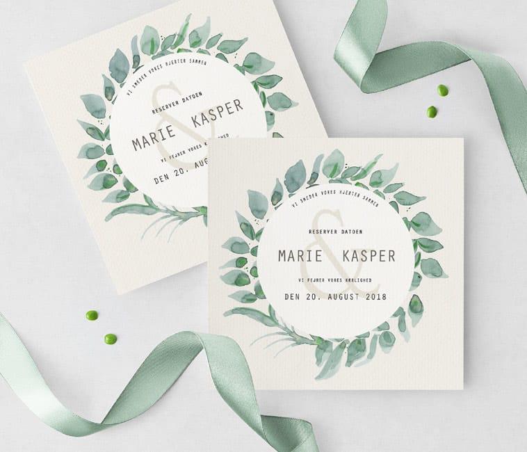 save the date kort med grønne detaljer