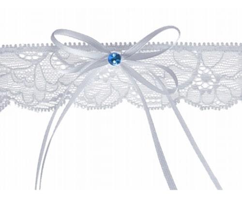 strømpebånd med blå detalje