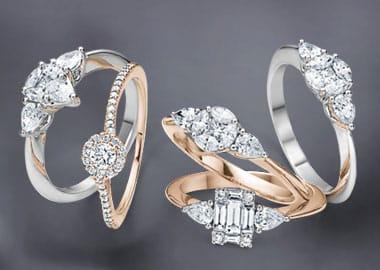 Ringe i rødguld og hvidguld med diamanter