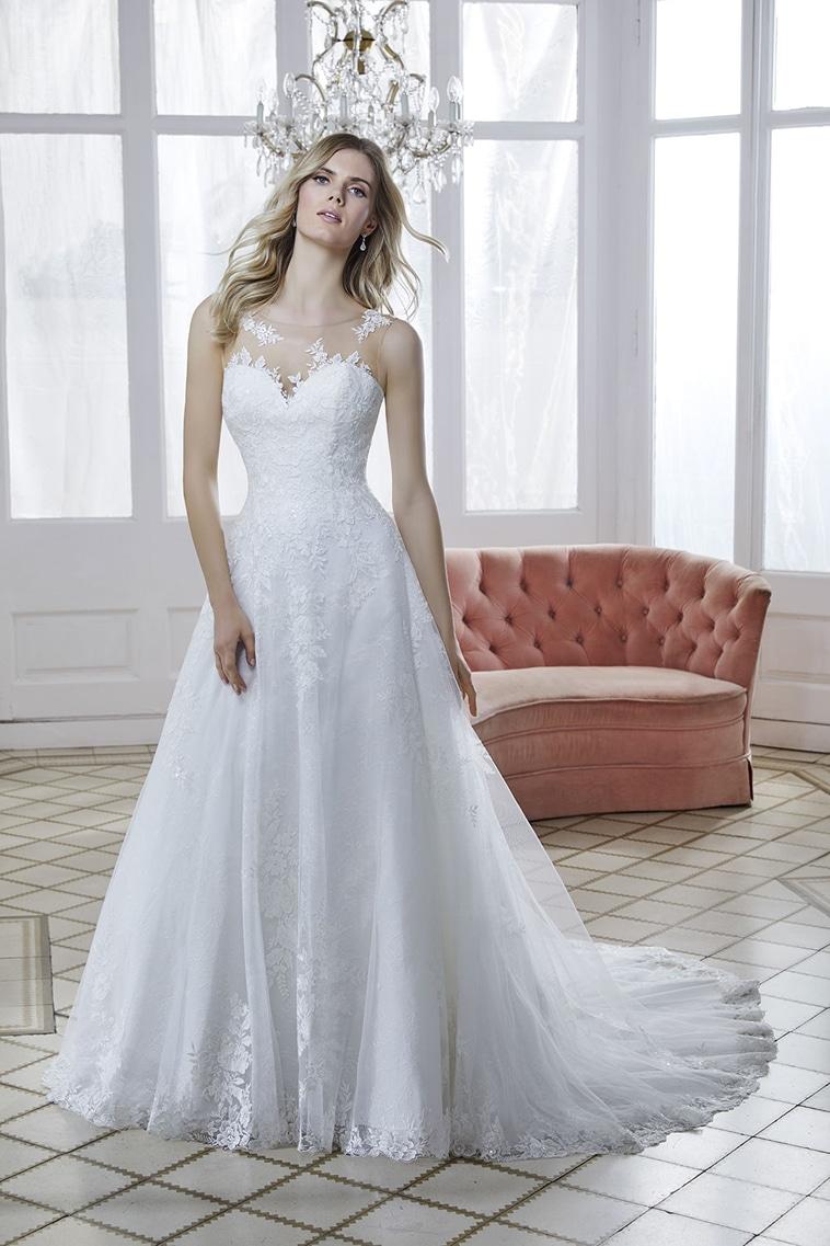 A-line brudekjole med illusion overdel