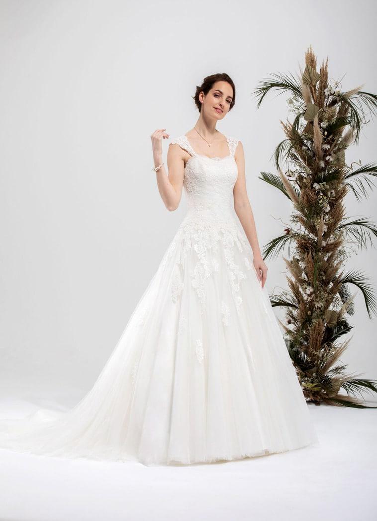 A-line brudekjole med små aftagelige stropper