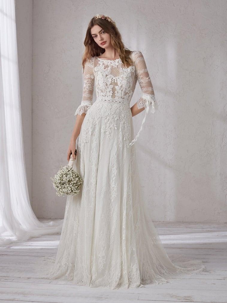 Brudekjole med 3/4 lange ærmer, boheme stil