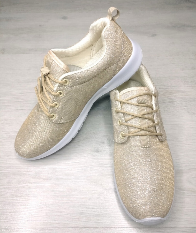 guldfarvede sneakers
