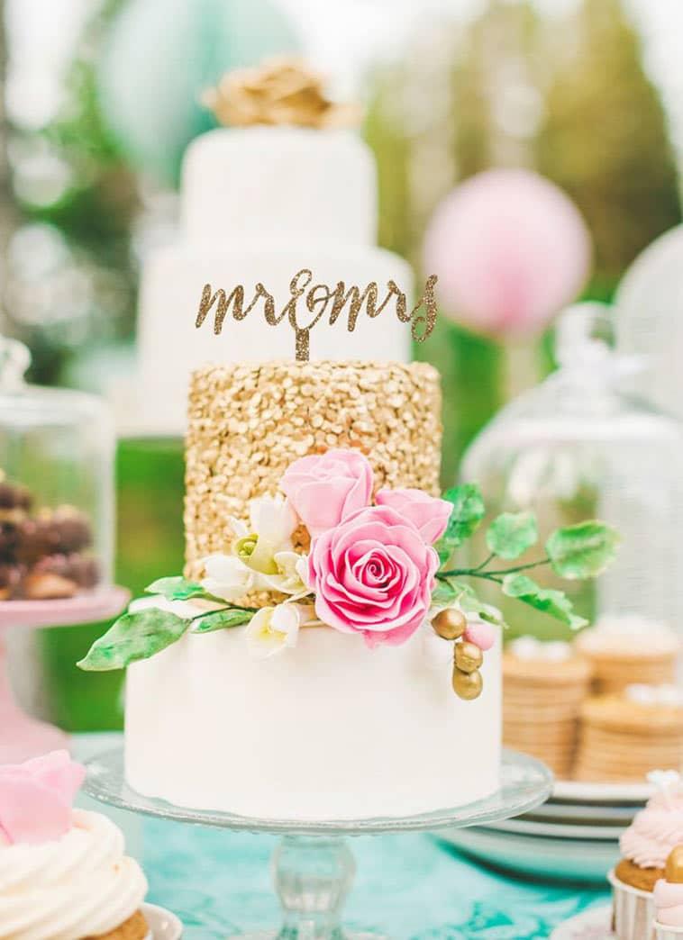 bryllupskage topfigur i glitter